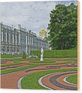 Formal Garden In Front Of The Palace Wood Print