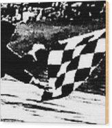 Formula 1 Vintage Checkered Flag Wood Print