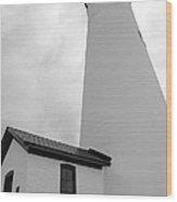 Fort Gratiot Light House In Black And White Wood Print