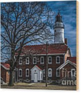 Fort Gratiot Lighthouse And Buildings With Clouds Wood Print