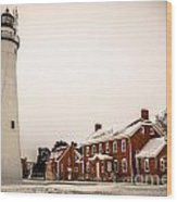 Fort Gratiot Lighthouse In Winter Wood Print