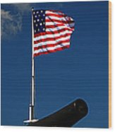 Fort Mchenry Flag And Cannon Wood Print