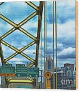 Fort Pitt Bridge And Downtown Pittsburgh Wood Print