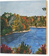 Fort Toulouse Coosa River In Fall Wood Print