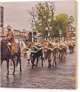 Fort Worth Cattle Drive Wood Print