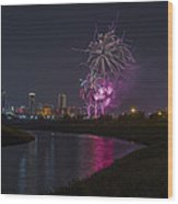 Fort Worth Fourth Of July Fireworks Wood Print by Jonathan Davison