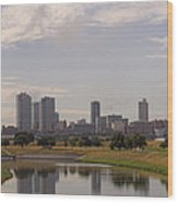 Fort Worth Skyline Partly Cloudy Wood Print