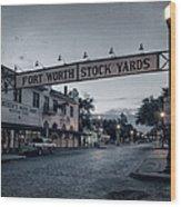 Fort Worth Stockyards Bw Wood Print