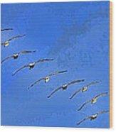 Forteen In Flight Wood Print