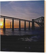 Forth Bridges Sunset Wood Print