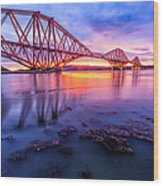 Forth Rail Bridge Stunning Sunrise Wood Print