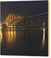 Forth Rail Bridge With Train Wood Print