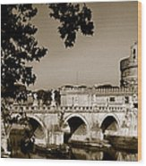 Fortress And Bridge In Sepia Wood Print