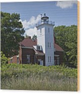 Forty Mile Point Lighthouse In Michigan Number 450 Wood Print