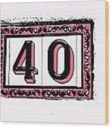 Forty Pink And Black Wood Print