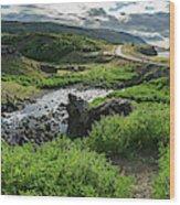 Fossa Waterfall In Hvalfjordur, Iceland Wood Print