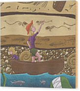 Fossils Wood Print by Christy Beckwith