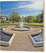 Fountain And Park In Zagreb Wood Print