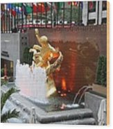Fountain And Prometheus - Rockefeller Center Wood Print