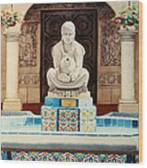 Fountain At Cafe Del Rey Moro Wood Print by Mary Helmreich