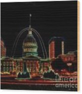 Fountain At City Garden In Neon Framed Wood Print