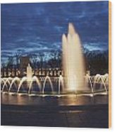 Fountain At Night World War II Memorial Washington Dc Wood Print