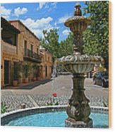 Fountain At Tlaquepaque Arts And Crafts Village Sedona Arizona Wood Print by Amy Cicconi