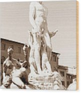 Fountain Of Neptune Florence Wood Print