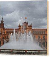 Fountain On Plaza De Espana. Seville Wood Print by Jenny Rainbow
