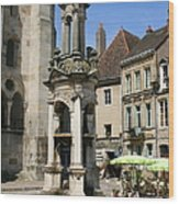 Fountain On The Market Place Autun Wood Print