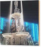 Fountain Square At Night Wood Print