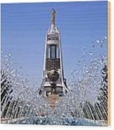 Fountains And The Arch Of Neutrality At Ashgabat In Turkmenistan Wood Print