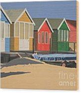 Four Beach Huts Wood Print