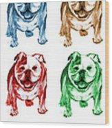 Four Bulldogs Wood Print by Barbara Marcus