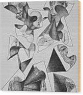 Four Faces In Puzzel Wood Print by Glenn Calloway