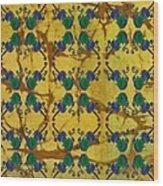 Four Fancy Fiddles Tiled On Gold Batik Wood Print