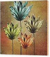 Four Fractal Flower Wood Print