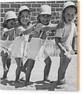 Four Little Girls Having Fun Wood Print