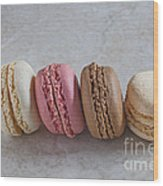 Four Macarons In A Row Wood Print