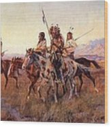 Four Mounted Indians Wood Print