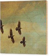 Four Ravens Flying Wood Print