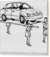 Four Roman Servants Carry A Car On A Canopy Like Wood Print