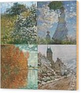 Four Seasons A Collage Of Monets Wood Print