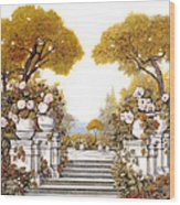 four seasons-autumn on lake Maggiore Wood Print by Guido Borelli