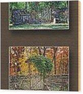 Four Seasons Collage Wood Print