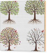 Four Seasons In One Tree Wood Print