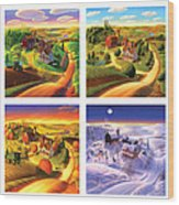 Four Seasons On The Farm Squared Wood Print