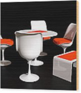 Four Tulip Chairs Wood Print
