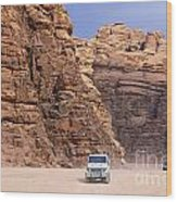 Four Wheel Drive Vehicles At Wadi Rum Jordan Wood Print