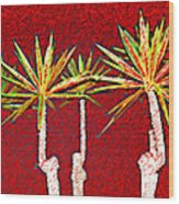 Four Yuccas In Red Wood Print
